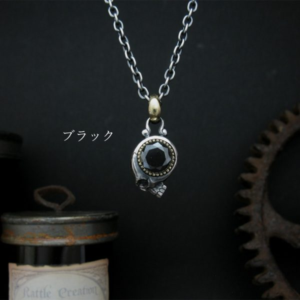 大きな石のネックレス/ブラック