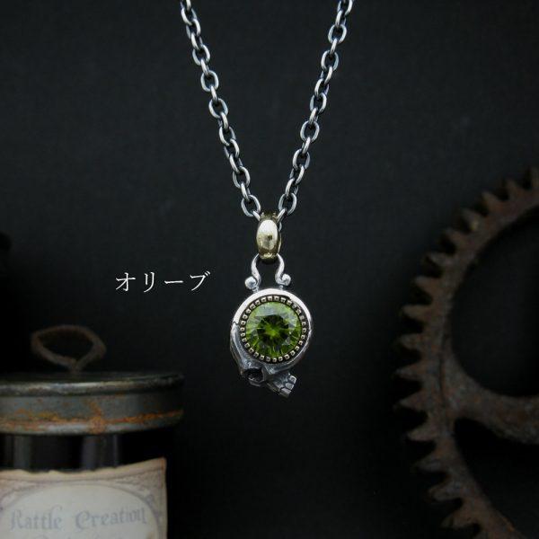 大きな石のネックレス/オリーブ